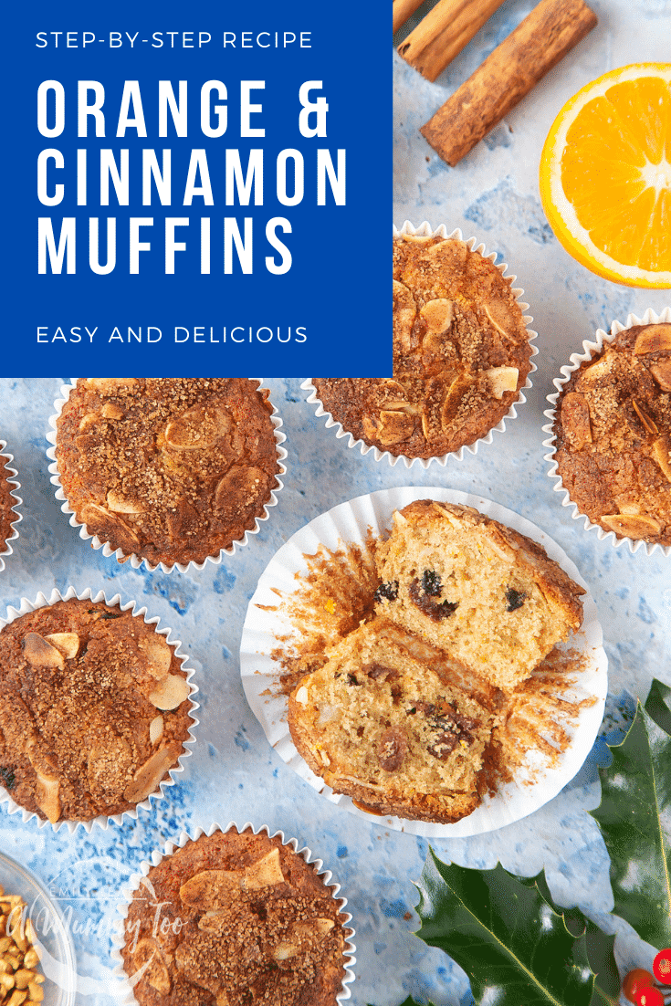 graphic text STEP-BY-STEP RECIPE ORANGE & CINNAMON MUFFINS EASY AND DELICIOUS above halved orange muffins with a mummy too logo in the lower-left corner