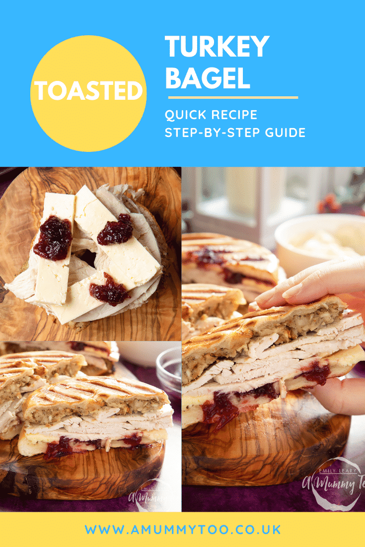 graphic text TOASTED TURKEY BAGEL QUICK RECIPE STEP-BY-STEP GUIDE above collage of three photos of turkey bagel with stuffing with website URL below