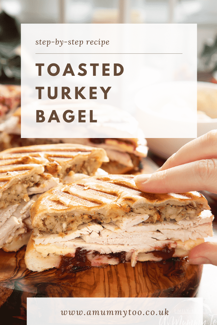 graphic text TOASTED TURKEY BAGEL step-by-step recipe above a hand holding a turkey bagel with cranberry sauce