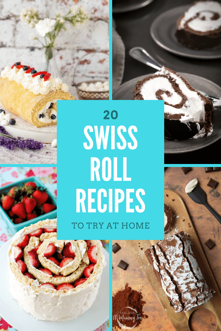 Collage of 4 Swiss rolls. Caption reads: 20 Swiss roll recipes to try at home