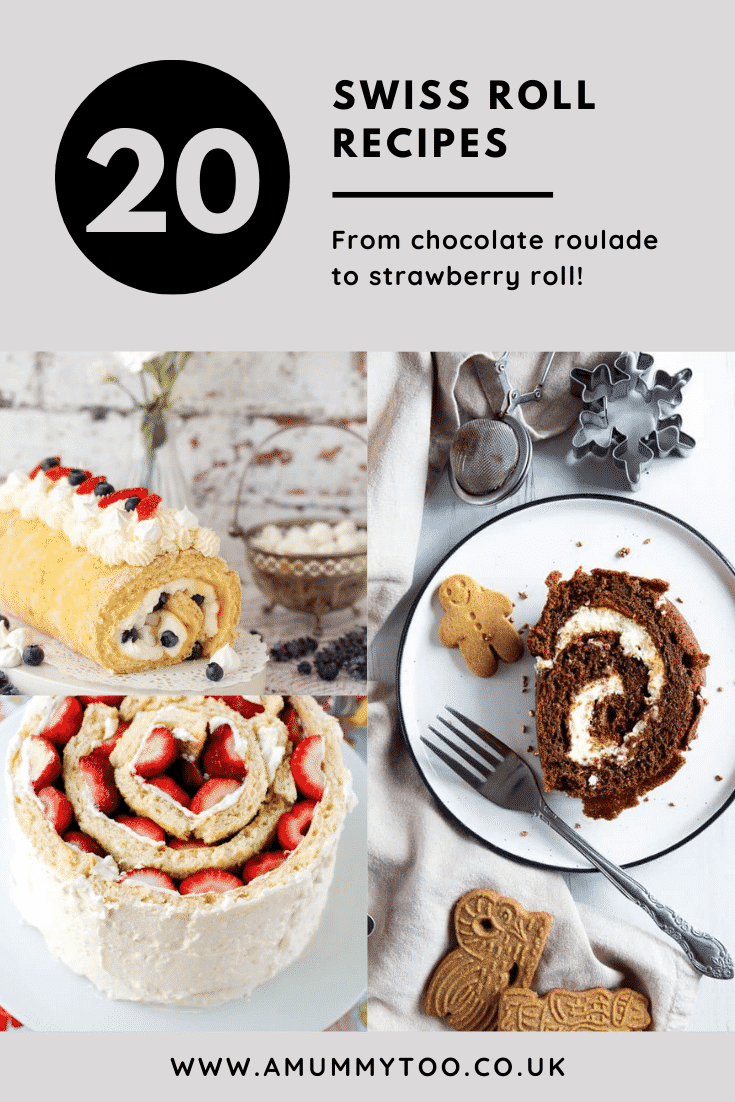 Collage of 3 Swiss rolls. Caption reads: 20 Swiss roll recipes from chocolate roulade to strawberry roll