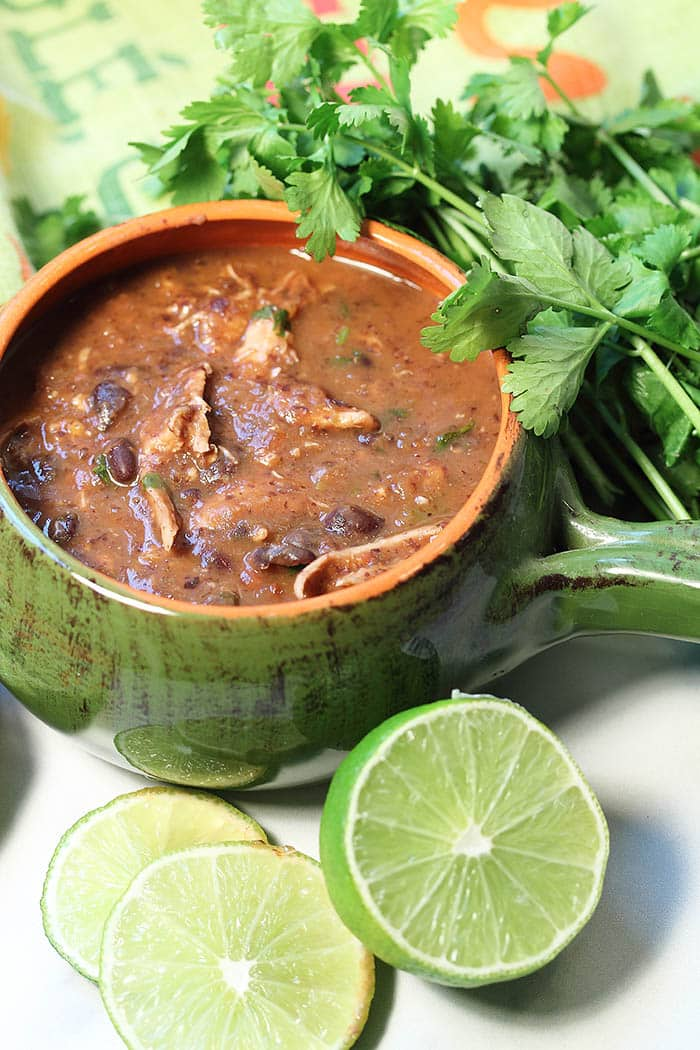 Black bean and shredded chicken soup inside a large green ceramic pot / bowl. Fresh herbs decorate the side of the bowl.