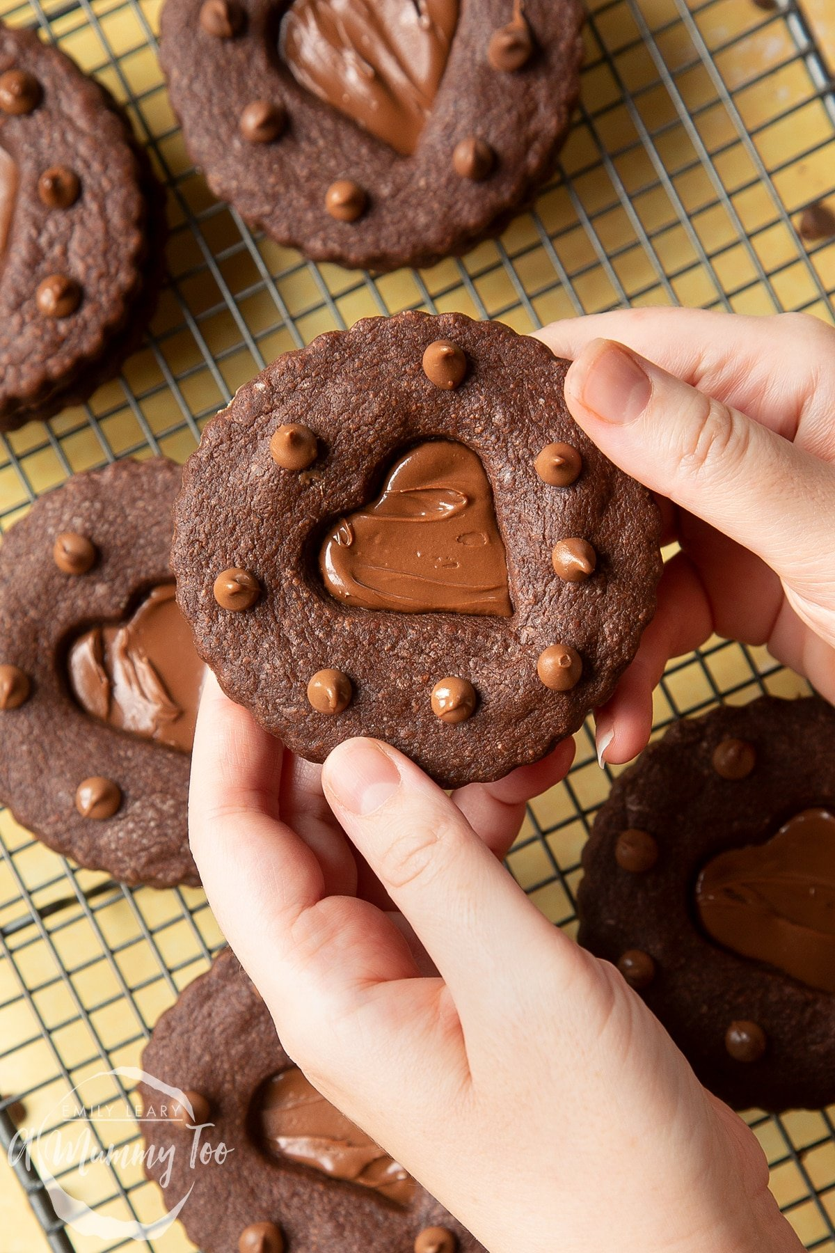 Two hands holding a Nutella sandwich cookie.