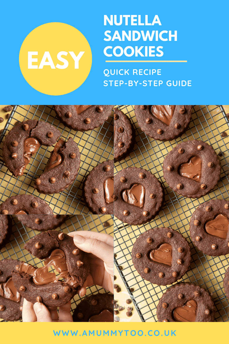A collage of Nutella sandwich cookies on a cooling rack. Caption reads: easy Nutella sandwich cookies - quick recipe - step-by-step guide