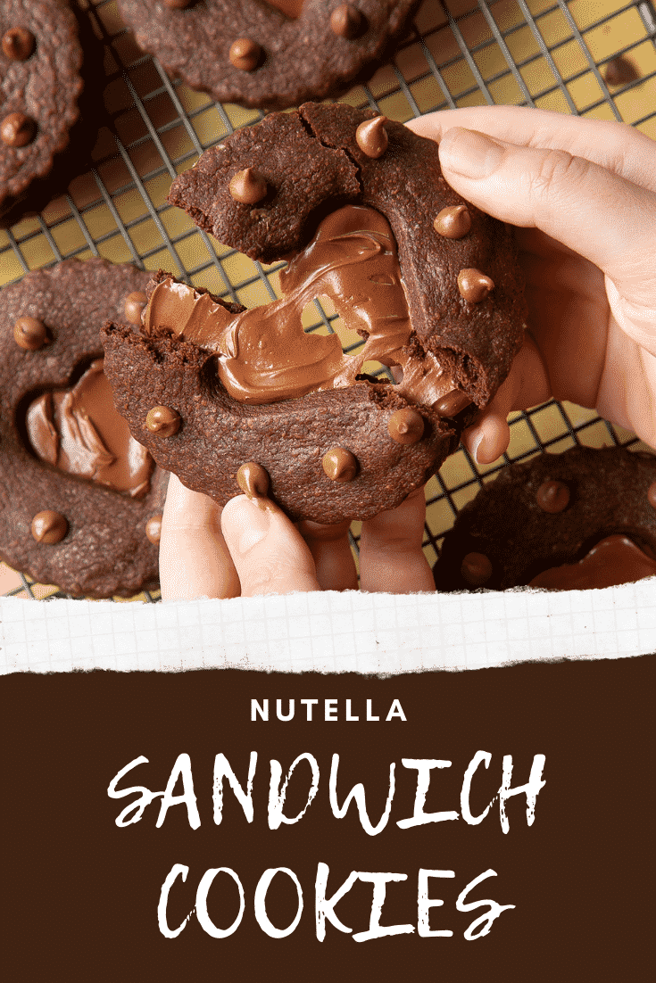 Two hands holding a Nutella sandwich cookie. The cookie is broken in half. Caption reads: Nutella sandwich cookies