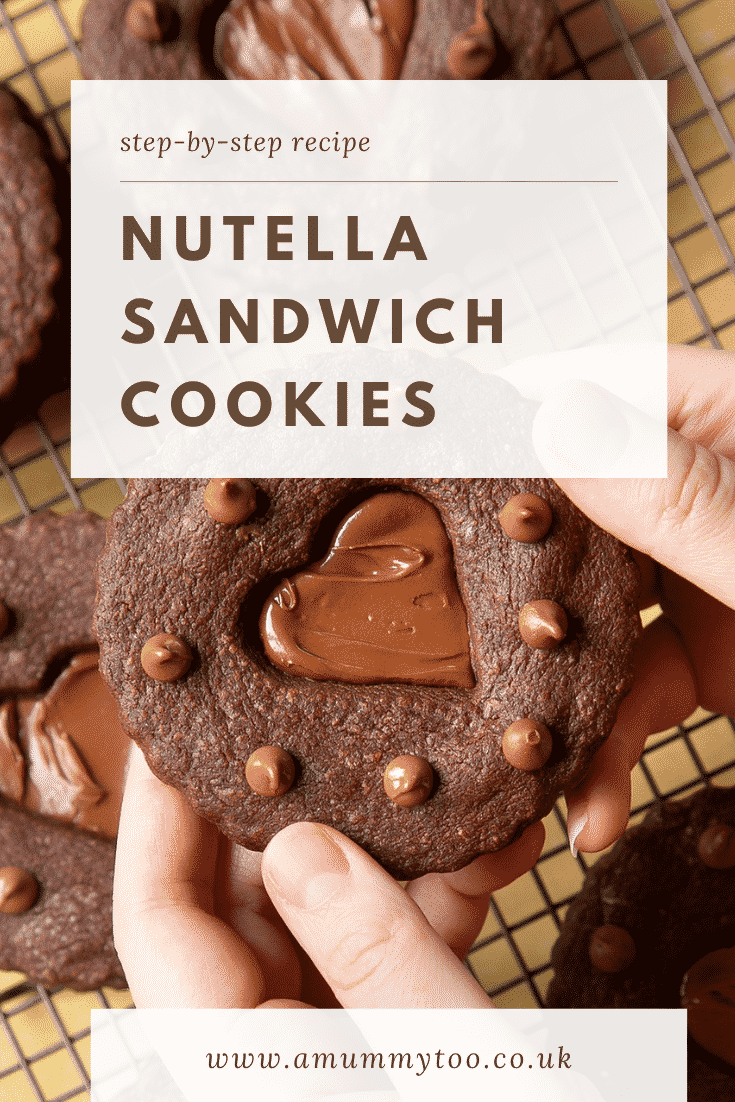 Two hands holding a Nutella sandwich cookie.  Caption reads: step-by-step Nutella sandwich cookies