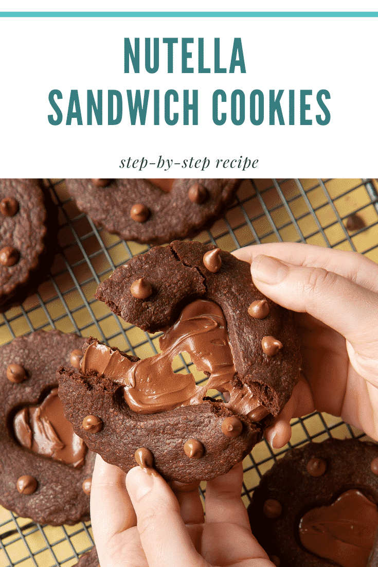 Two hands holding a Nutella sandwich cookie. The cookie is broken in half. Caption reads: Nutella sandwich cookies step-by-step recipe