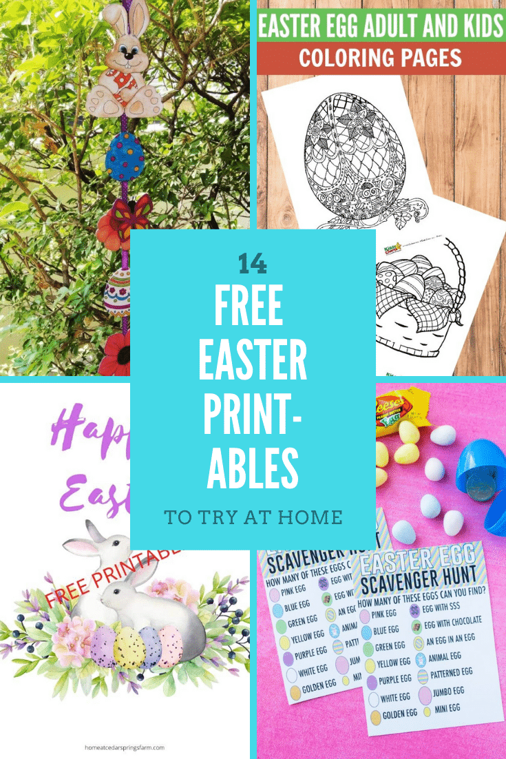 Collage of Easter printables. A text box reads: 14 Easter printables to try at home