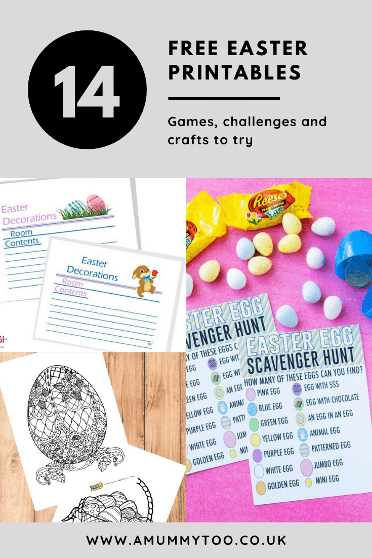 Collage of Easter printables. A text box reads: 14 free Easter printables. Games, challenges and crafts to try