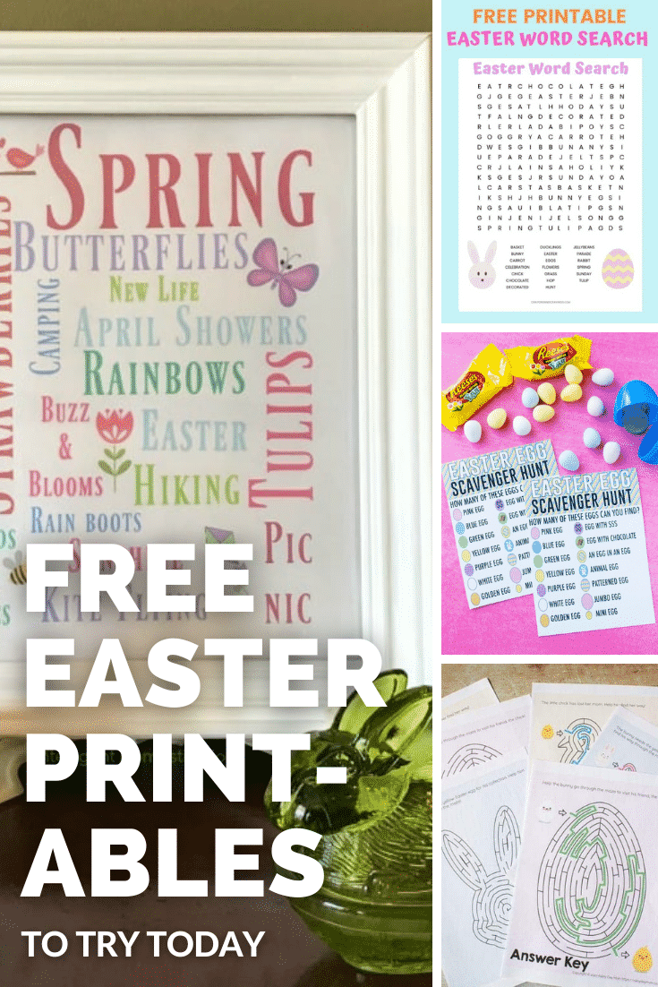 Collage of Easter printables. A text box reads: Free Easter printables.