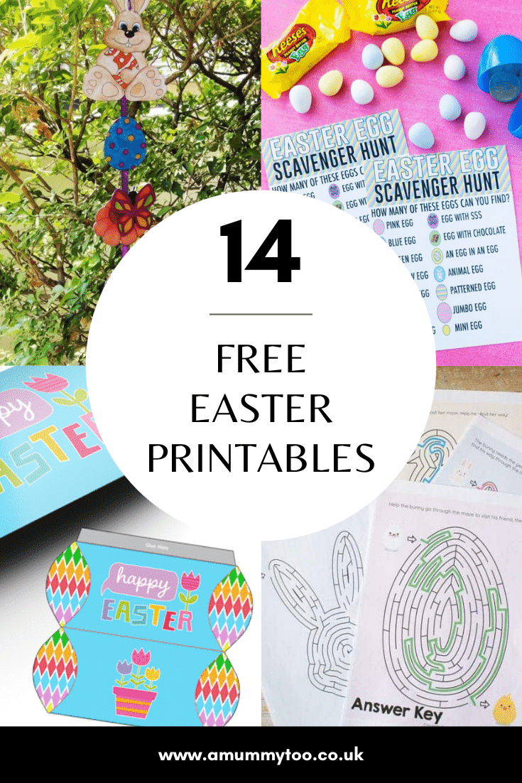 Graphic reads 14 FREE EASTER PRINTABLES with collage of photos of Easter printables