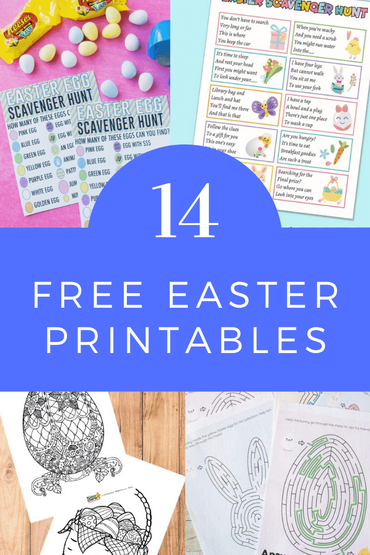 Collage of Easter printables. A text box reads: 14 free Easter printables