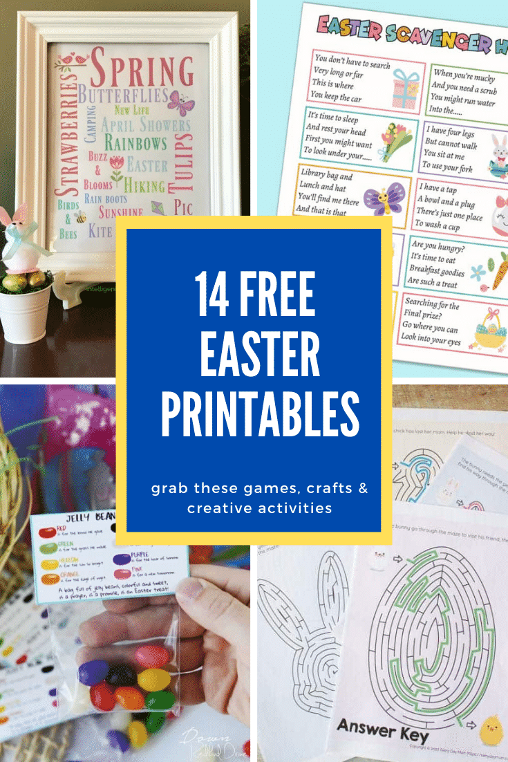 Collage of Easter printables. A text box reads: 14 Easter printables. Grab these games, crafts & creative activities