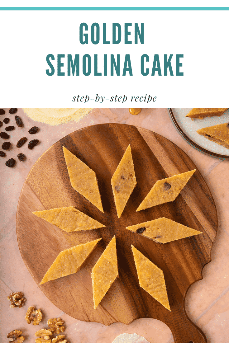 Sanwin-makin on a wooden board. Ingredients surround the board. Caption reads: golden semolina cake step-by-step recipe