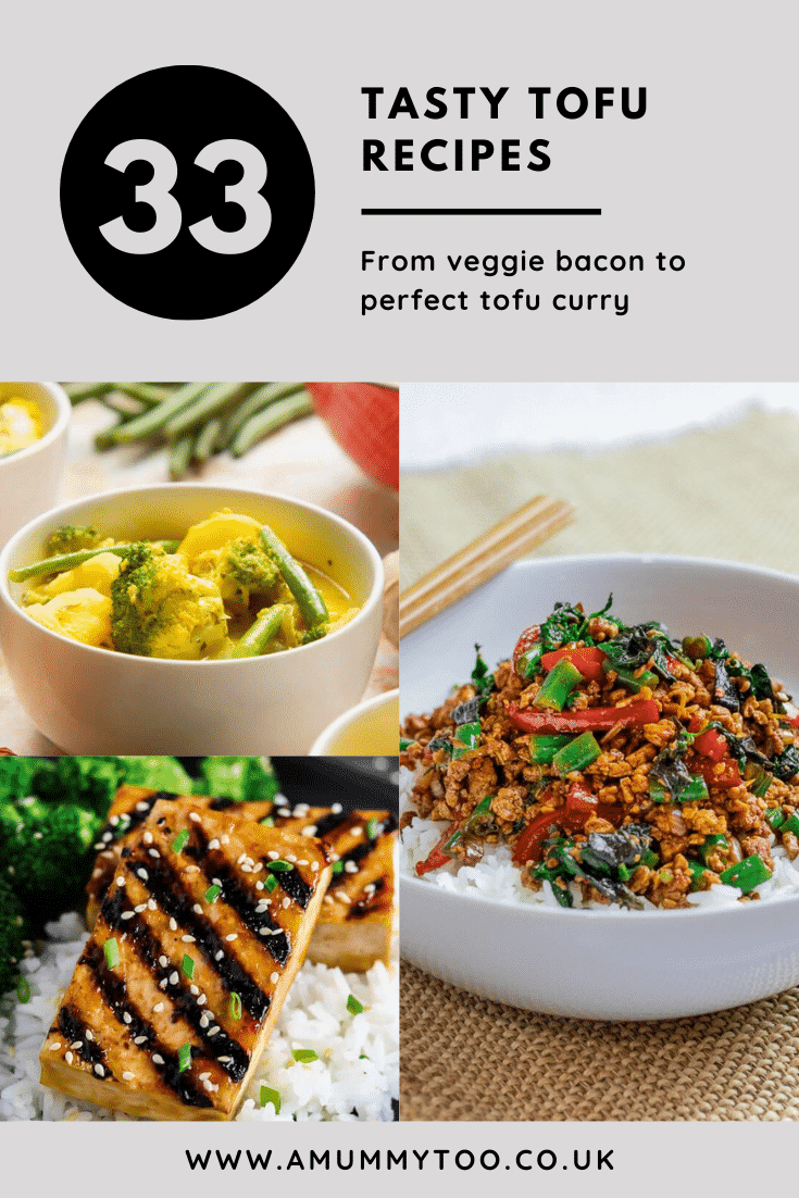 Collage of tofu recipes for beginners. Caption reads 33 tasty tofu recipes from veggie bacon to perfect tofu curry