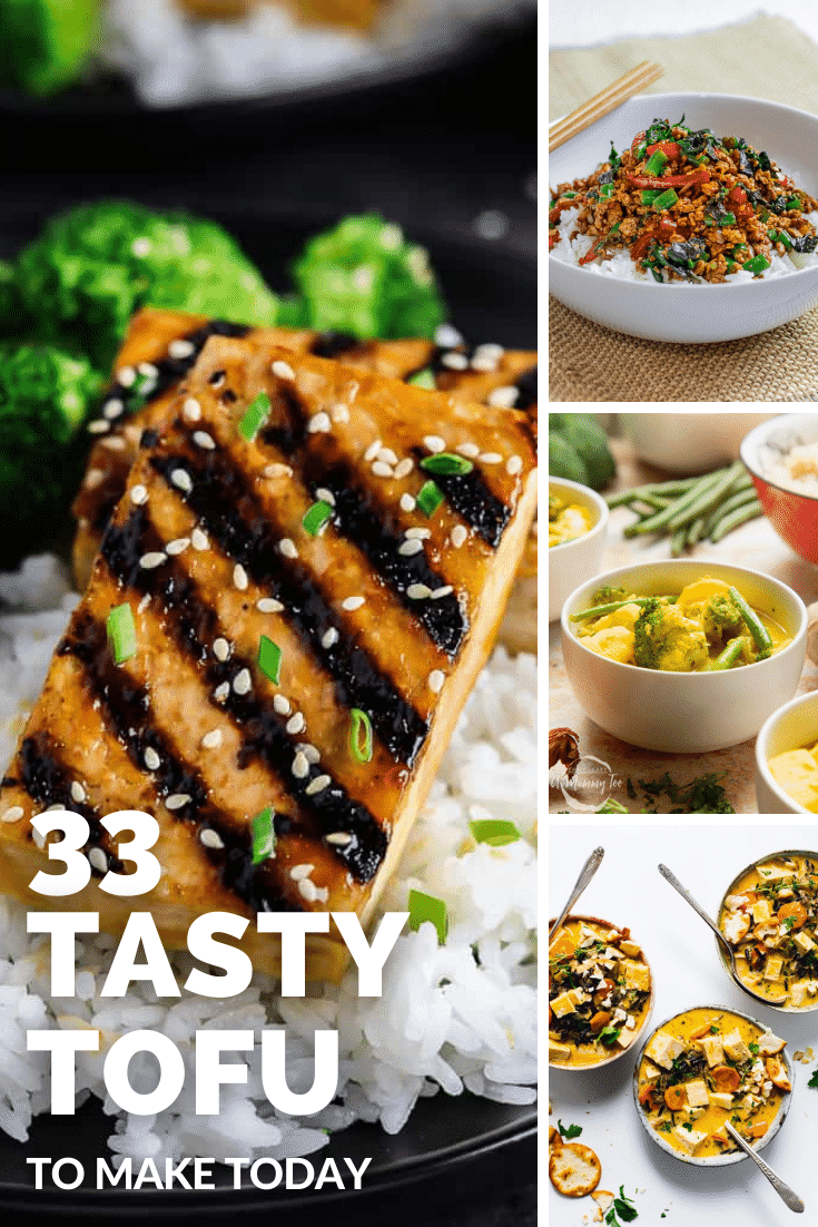 Collage of tofu recipes for beginners. Caption reads 33 tasty tofu recipes to make today