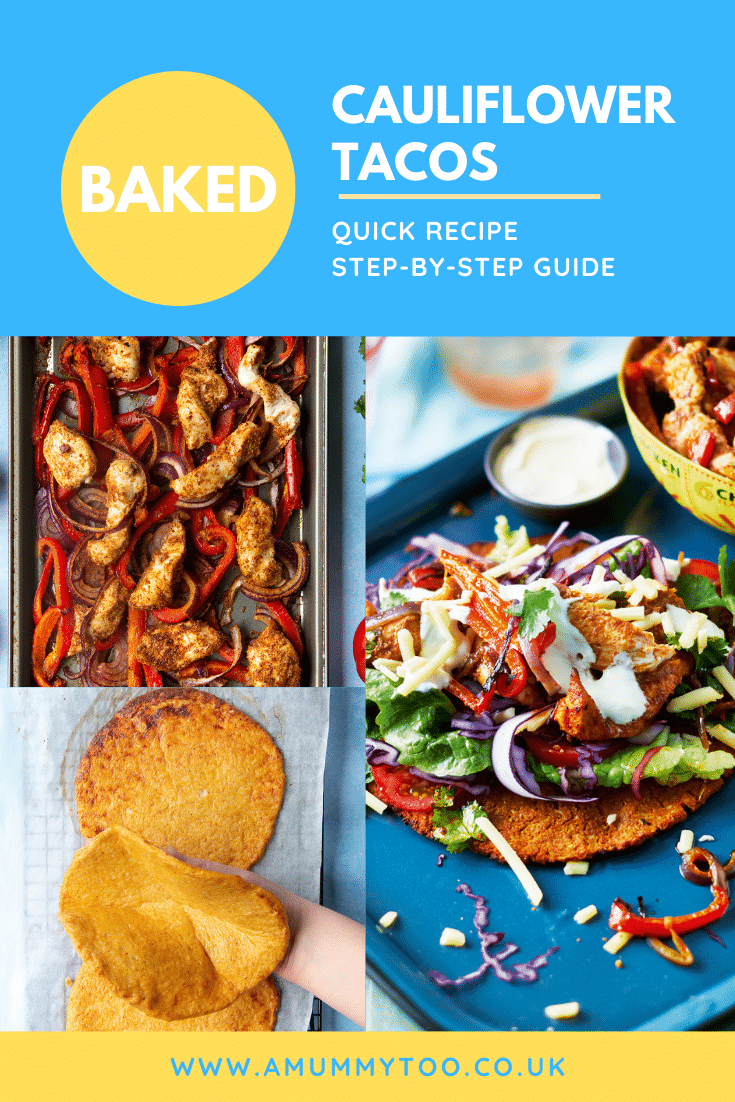 A collage of images showing cauliflower tacos with salad and chicken on a blue tray. The caption reads: Baked cauliflower tacos quick recipe step-by-step guide