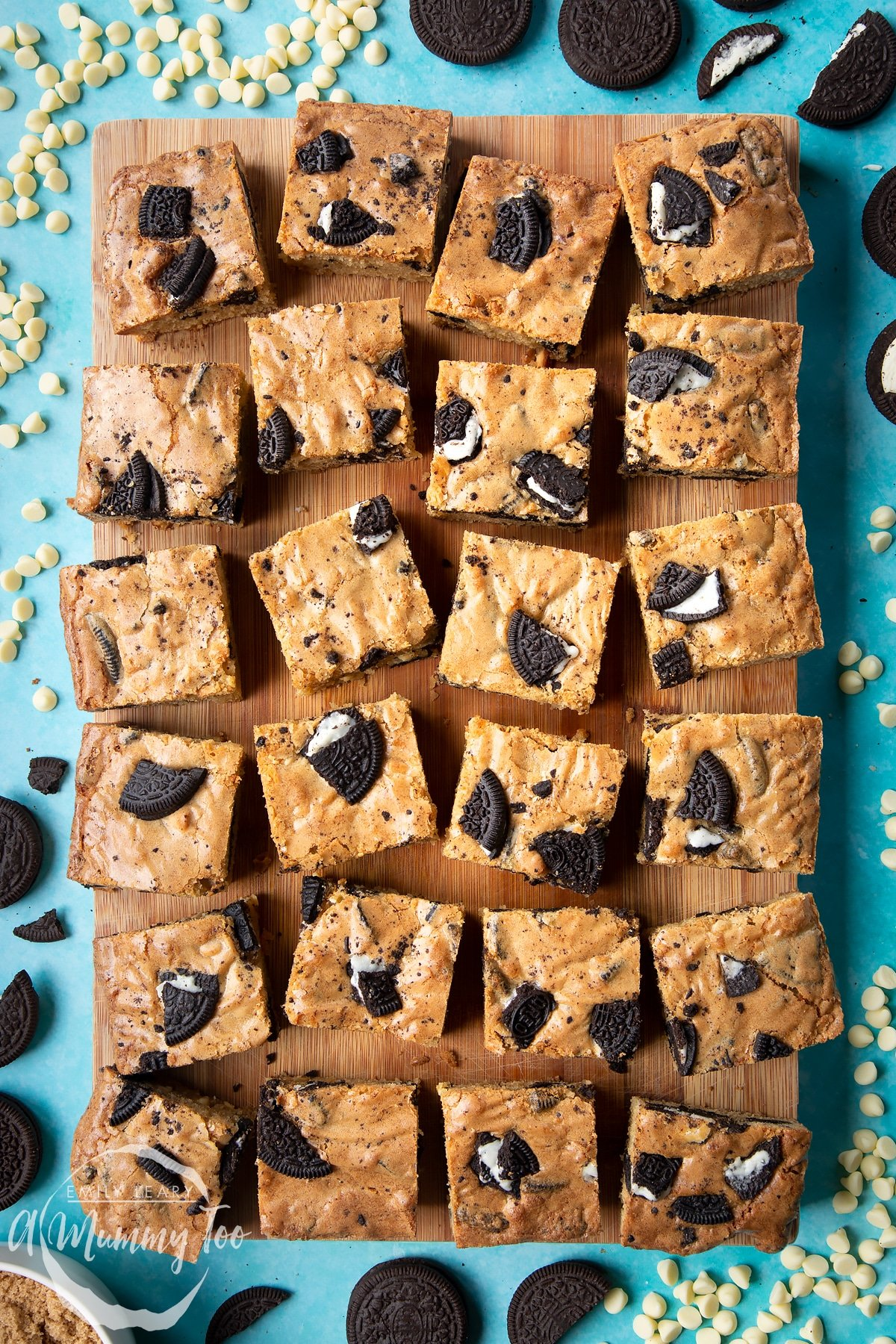 Overhead view of square Oreo Blondies on a wooden board
