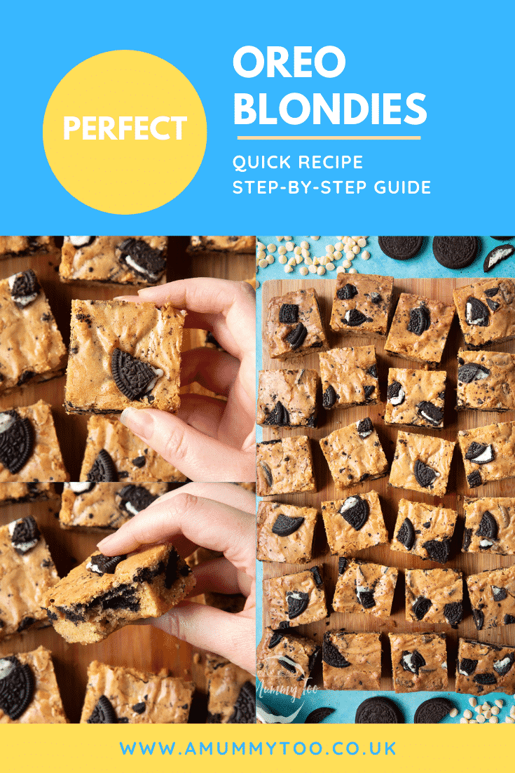graphic text: PERFECT OREO BLONDIES QUICK RECIPE STEP BY STEP GUIDE with collage of Oreo Blondies on a wooden board
