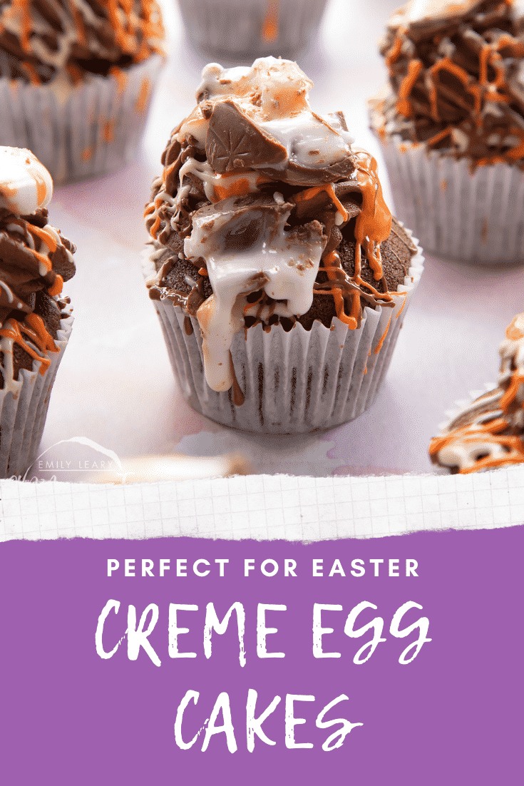 Cadbury Creme Egg cakes on a pink surface. Caption reads: Perfect for Easter Creme Egg cakes