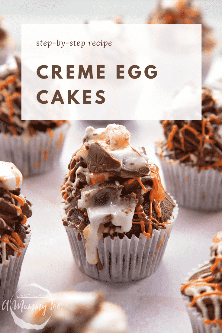Cadbury Creme Egg cakes on a pink surface. Caption reads: Step-by-step recipe Creme Egg cakes