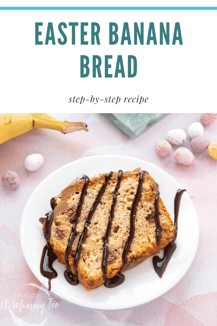 A slice of banana bread on a white plate with chocolate sauce. Caption reads: Easter banana bread step-by-step recipe