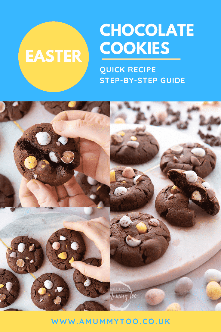 Collage of chocolate Easter cookies arranged on a round marble board. Caption reads: Easter chocolate cookies quick recipe step-by-step guide