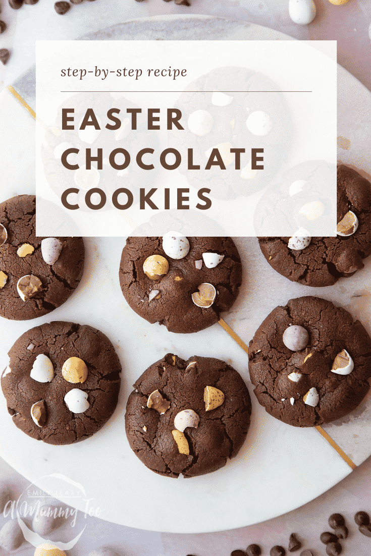Chocolate Easter cookies arranged on a round marble board. Caption reads: step-by-step recipe Easter chocolate cookies