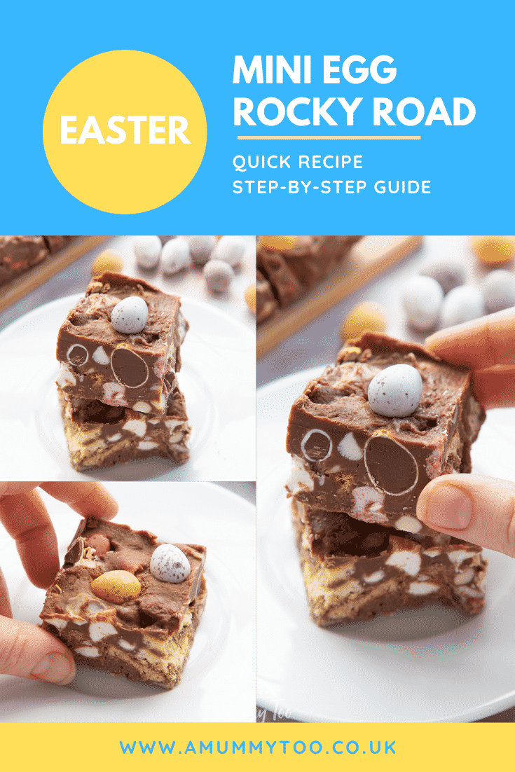 Collage of Mini Egg rocky road on a small white plate. Caption reads: Easter Mini Egg rocky road quick recipe step-by-step guide