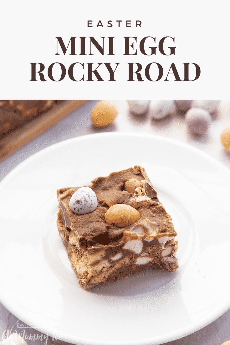 A piece of Mini Egg rocky road on a small white plate. Caption reads: Easter Mini Egg rocky road