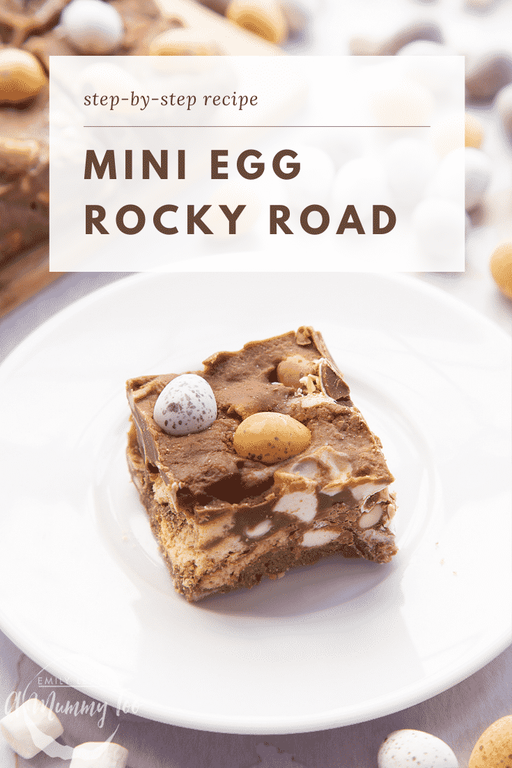 A piece of Mini Egg rocky road on a small white plate. Caption reads: Step-by-step recipe Mini Egg rocky road
