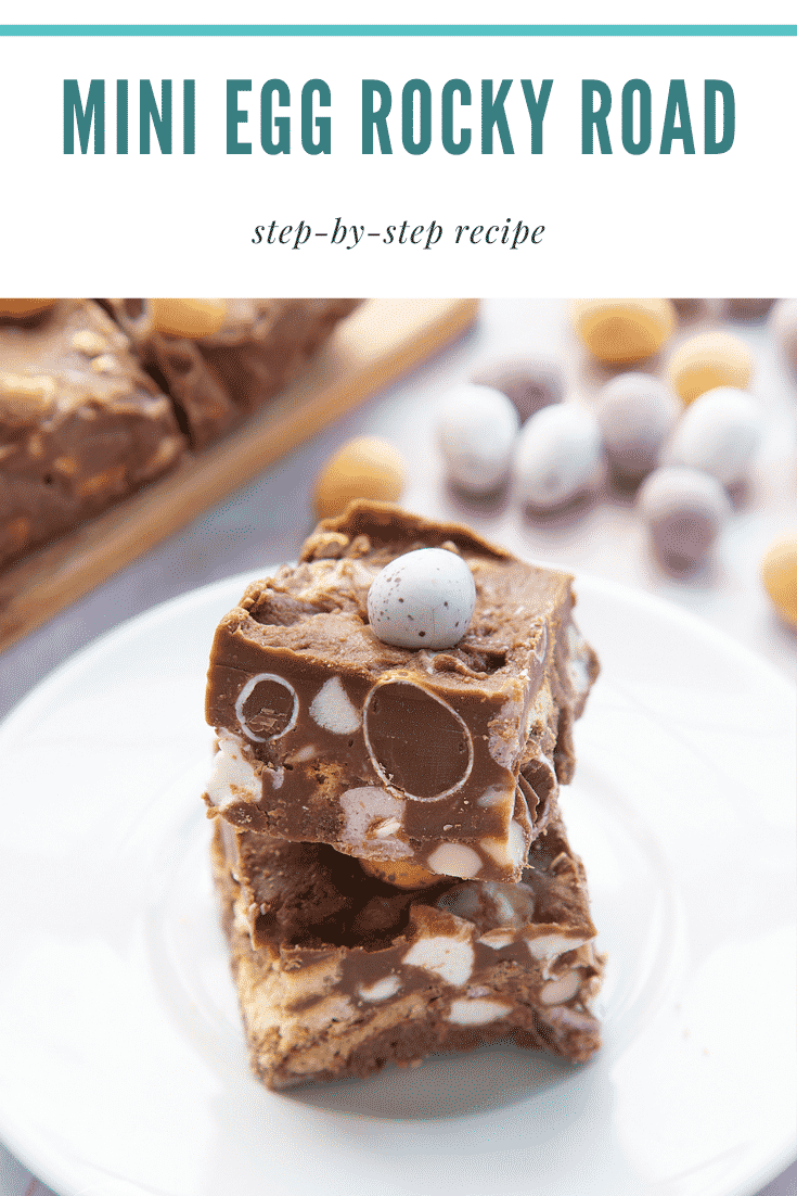 A piece of Mini Egg rocky road on a small white plate. Caption reads: Mini Egg rocky road step-by-step recipe