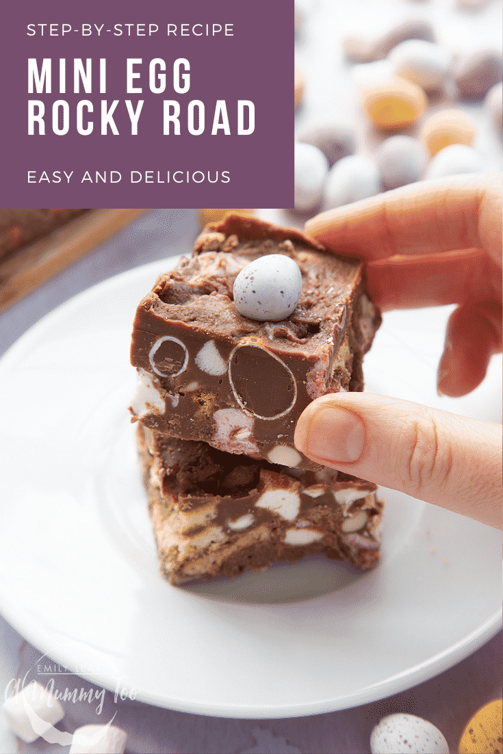 Two pieces of Mini Egg rocky road on a small white plate. A hand reaches for one. Caption reads: Step-by-step recipe Mini Egg rocky road easy and delicious