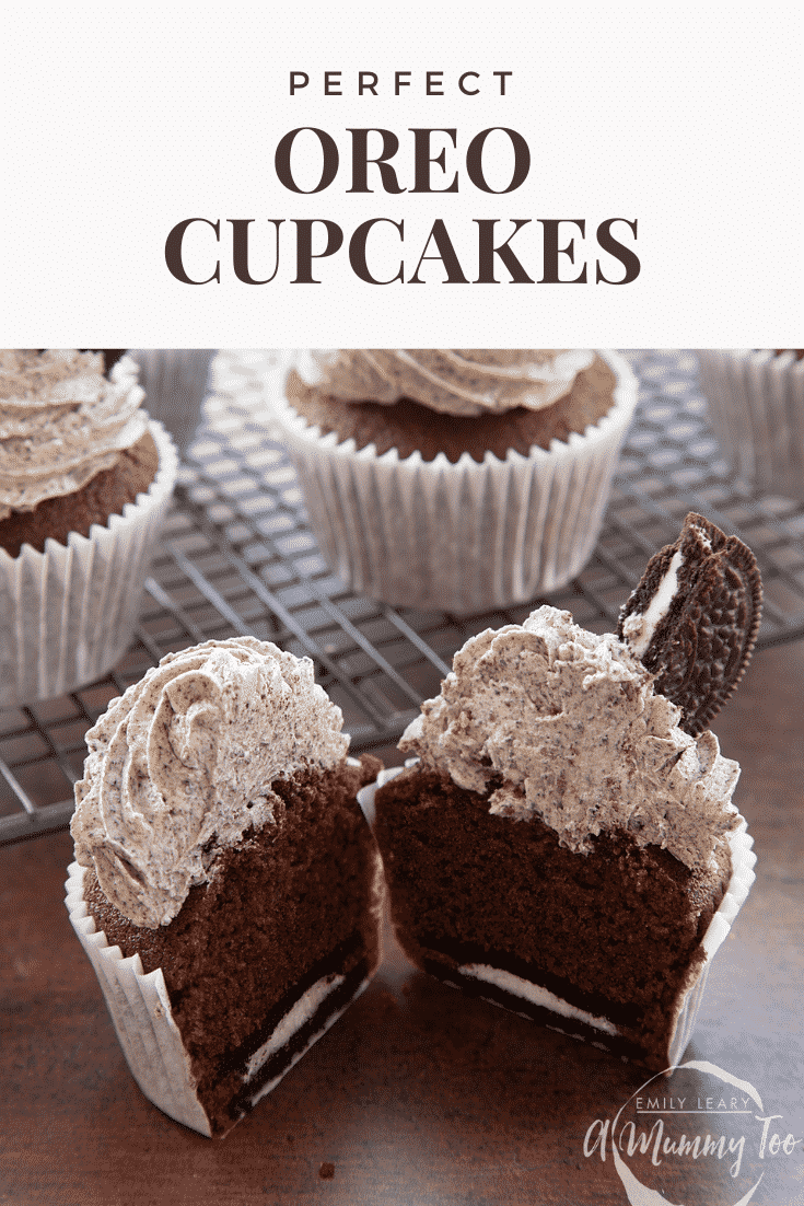 grpahic text: OREO CUPCAKES STEP BY STEP RECIPE above front view of  oreo buttercream topped cupcake cut in half