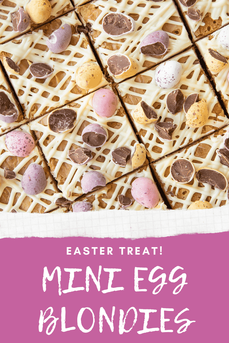Mini Egg blondies from above - close up. Caption reads: Easter treat! Mini Egg blondies