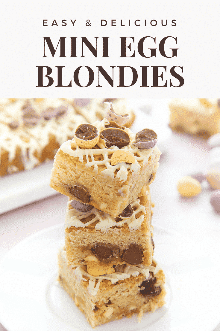 Three stacked Mini Egg blondies on a white plate. Caption reads: Easy & delicious Mini Egg blondies