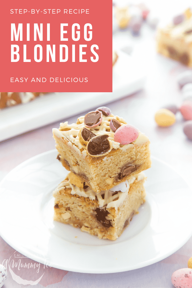 Two Mini Egg blondies on a white place. Caption reads: step-by-step recipe Mini Egg blondies easy and delicious
