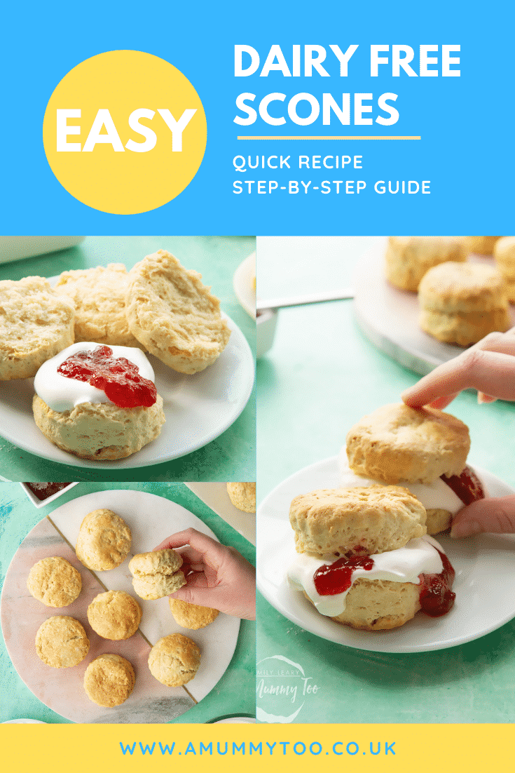 Collage of dairy free scones on white plates / a marble board. They are filled with jam and vegan whipped cream. Caption reads: easy dairy free scones quick recipe step-by-step guide