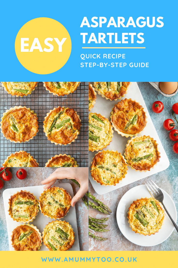 Collage of images of asparagus tartlets on a white marble board or white plate. Caption reads: easy asparagus tartlets quick recipe step-by-step guide