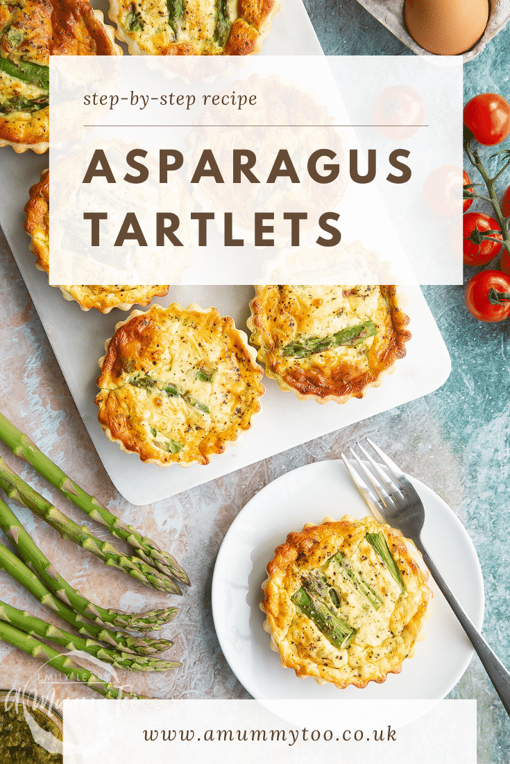 Asparagus tartlets on a white marble board and white plate. Caption reads: step-by-step recipe asparagus tartlets