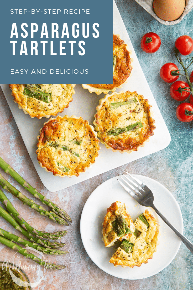 Asparagus tartlets on a white marble board and white plate. Caption reads: step-by-step recipe asparagus tartlets easy and delicious