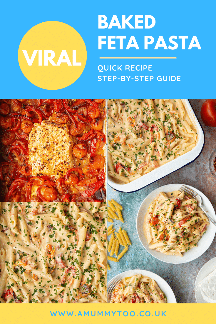Collage of images showing the making of baked feta pasta, then served in a white bowl. Caption reads: viral baked feta pasta quick recipe step-by-step guide.
