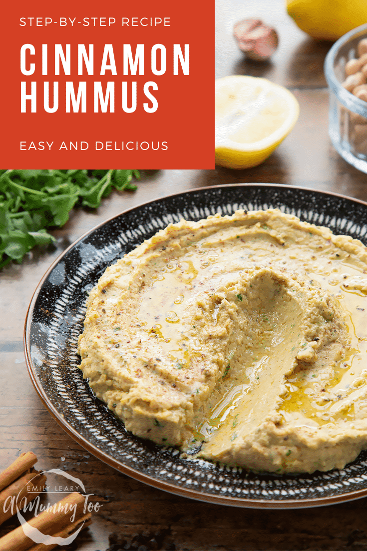 Cinnamon hummus in a bowl. Caption reads: step-by-step recipe cinnamon hummus easy and delicious