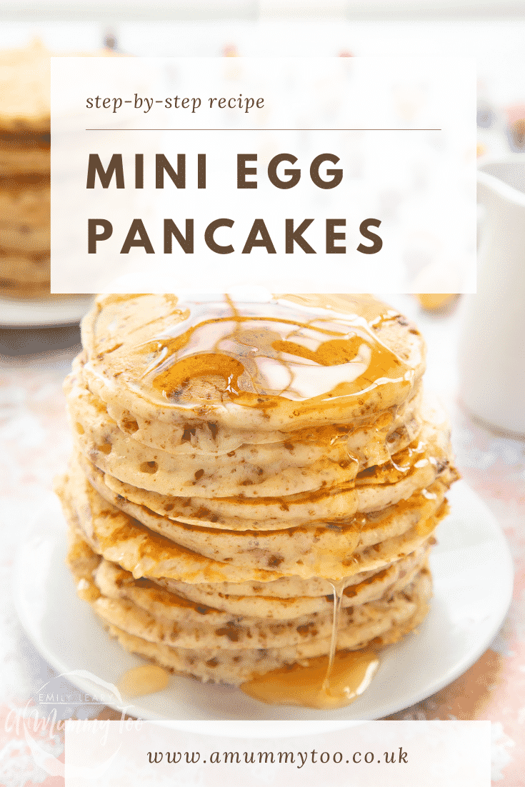 Tall, fluffy Mini Egg pancakes on a white plate in a tall stack. They are topped with syrup. Caption reads: step-by-step recipe Mini Egg pancakes
