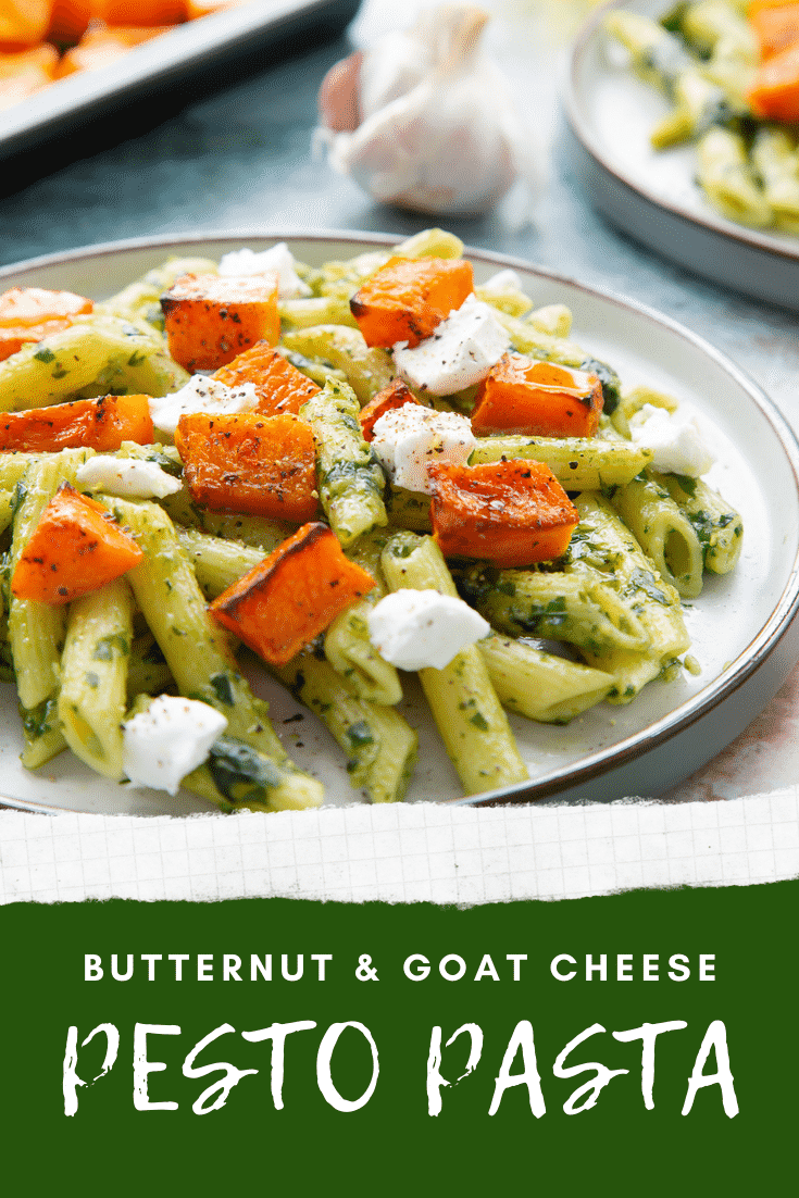 Penne with butternut squash and goat cheese on a grey plate. Caption reads: butternut & goat cheese pasta