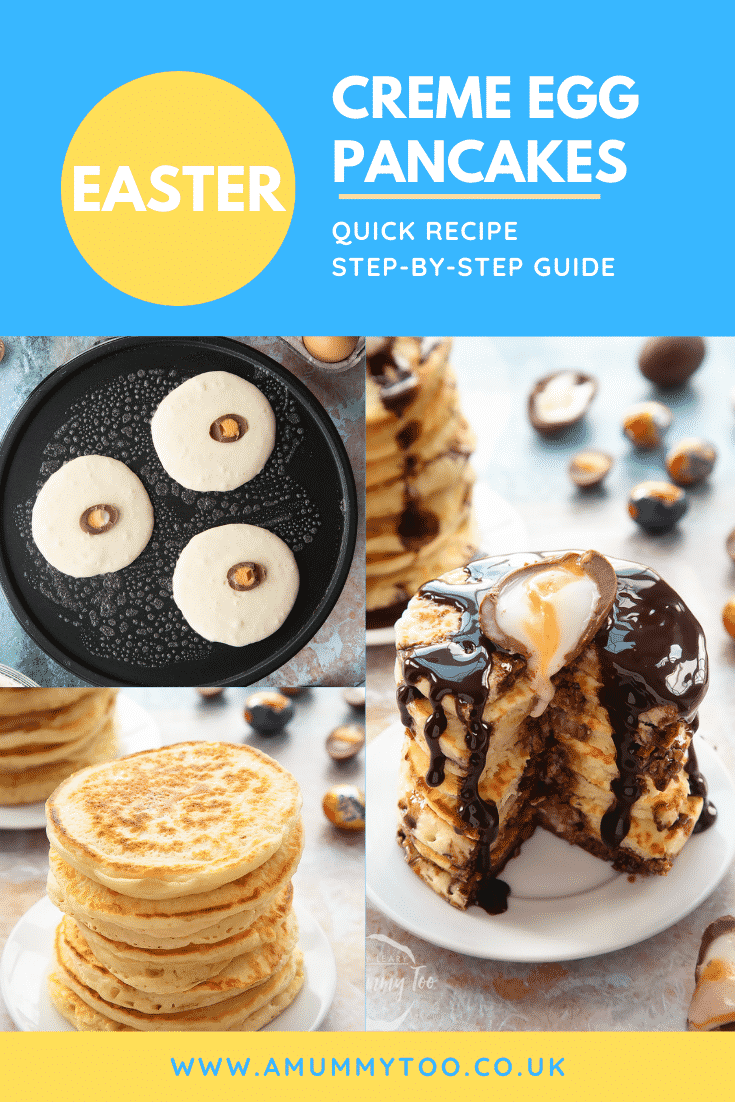 A collage showing the making of a tall stack of Creme Egg pancakes on a small white plate. Caption reads: Easter Creme Egg pancakes quick recipe step-by-step guide