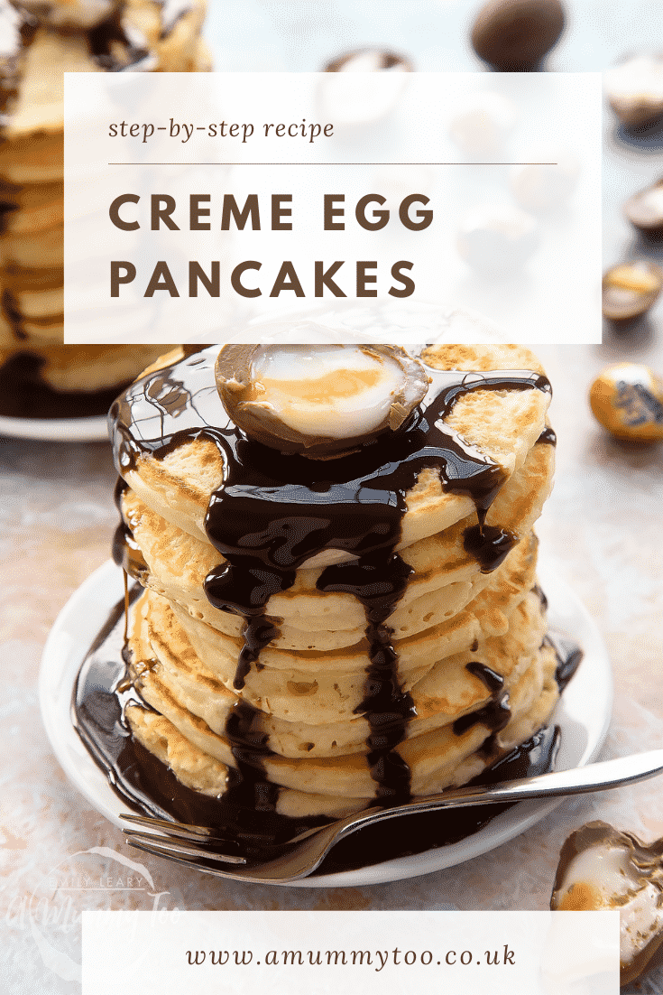 A tall stack of Creme Egg pancakes on a small white plate. Caption reads: step-by-step recipe Creme Egg pancakes