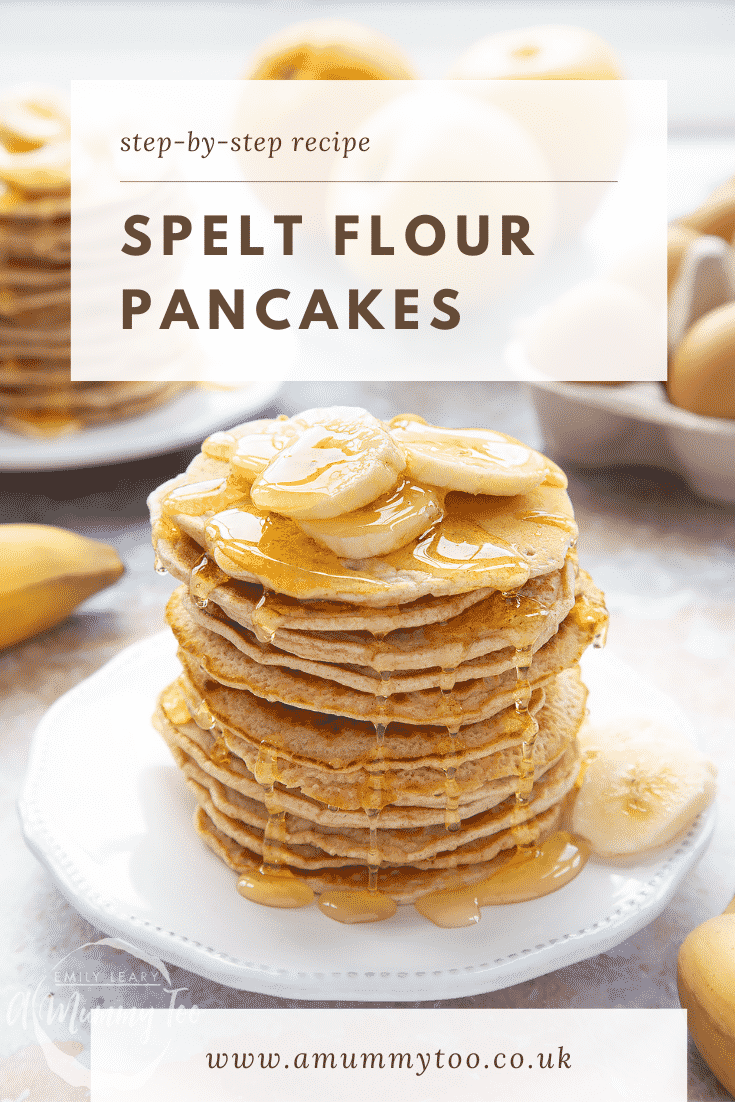 graphic text step-by-step recipe SPELT FLOUR PANCAKES above Front view shot of a stack of pancakes on a white plate