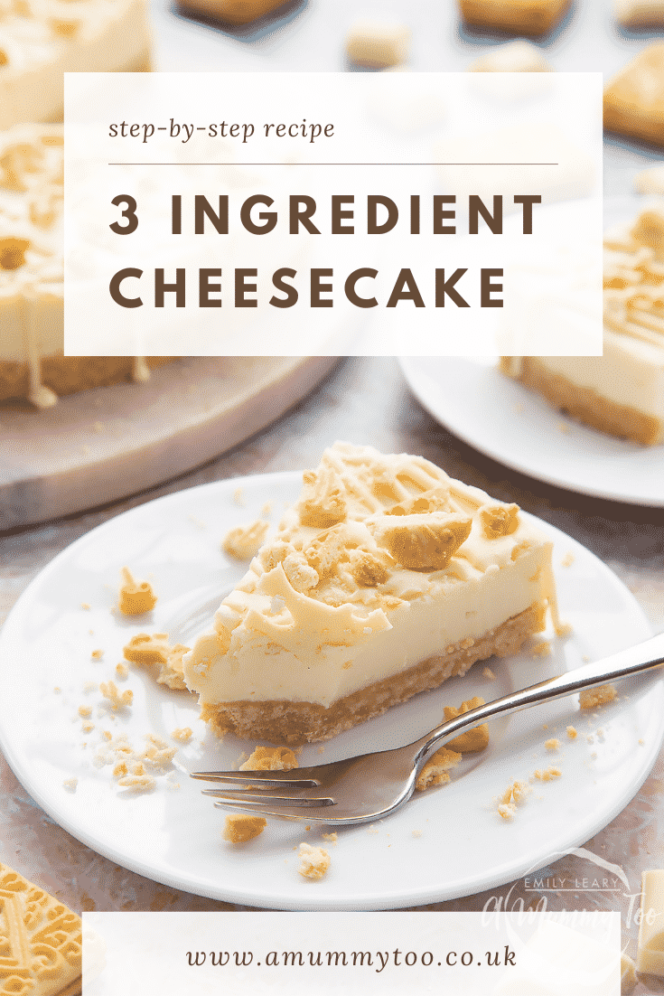 Graphic Text 3 INGREDIENT CHEESECAKE with front view shot of piece of cheesecake on a white plate