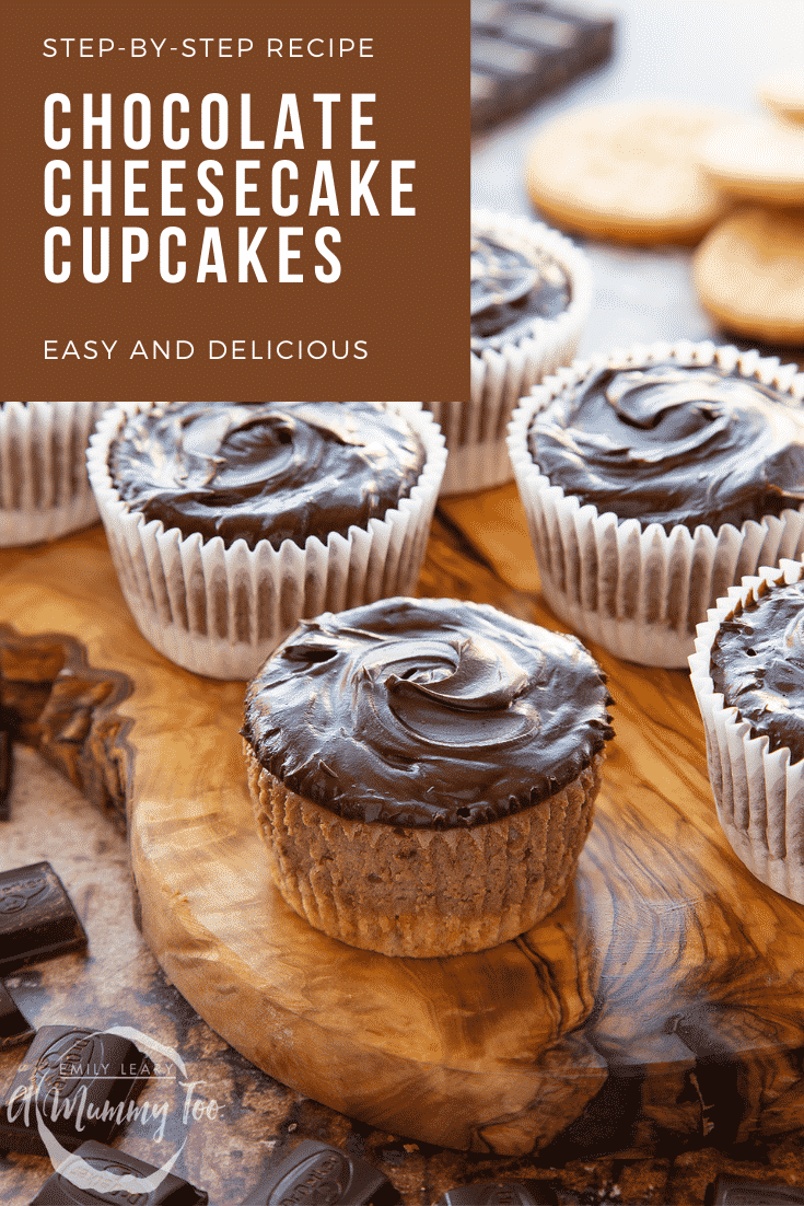 Chocolate cheesecake cupcakes in rows on an olive wood board. Caption reads: Step-by-step recipe chocolate cheesecake cupcakes easy and delicious